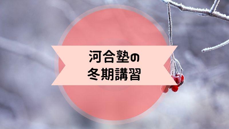 河合塾 冬期講習